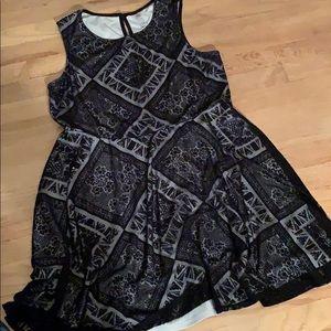 Xhiliration black gray dress tank sleeveless XL